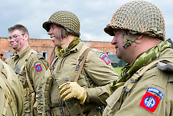 Members of the US 82nd Airborne/505th RCT living History Group Fort Paull <br /> <br />   03 May 2015<br />   Image &copy; Paul David Drabble <br />   www.pauldaviddrabble.co.uk