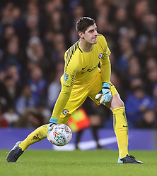 """Chelsea goalkeeper Thibaut Courtois during the Carabao Cup Semi Final, First Leg match at Stamford Bridge, London. PRESS ASSOCIATION Photo. Picture date: Wednesday January 10, 2018. See PA story SOCCER Chelsea. Photo credit should read: Adam Davy/PA Wire. RESTRICTIONS: EDITORIAL USE ONLY No use with unauthorised audio, video, data, fixture lists, club/league logos or """"live"""" services. Online in-match use limited to 75 images, no video emulation. No use in betting, games or single club/league/player publications."""