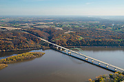 Aerial view of the Mississippi River and the Highway 12 Bridge between Dubuque, Iowa and Wisconsin.