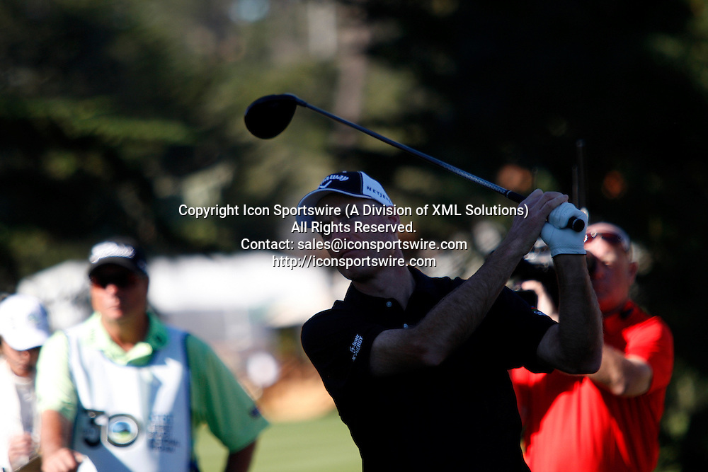 Feb 15 2015: Jim Furyk tees off during early final round action of the AT&T Pebble Beach National Pro-Am in Pebble Beach, CA.