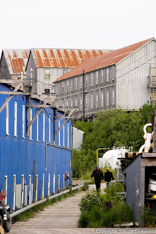 Two commercial fishermen walk amongst the old cannery buildings at Trident Seafoods' semi retired South Naknek cannery, Bristol Bay, Alaska.