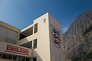 General view of the front of the England media centre with Sugarloaf mountain in the background. uring the England open training session at Est&aacute;dio Claudio Coutinho, Urca, Rio de Janeiro<br /> Picture by Andrew Tobin/Focus Images Ltd +44 7710 761829<br /> 16/06/2014