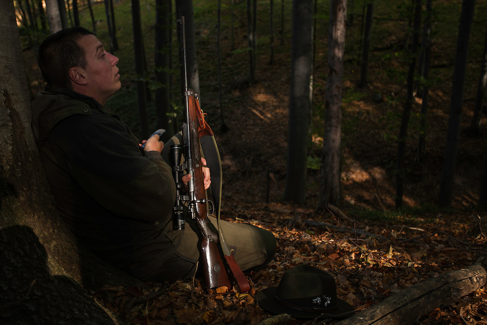 Romanian forester sitting in the forest, leaning at a Common beech (Fagus sylvatica) trunk at his shooting stand during a driving hunt for Wild boar (Sus scrofa). Mehadia, Caras Severin, Romania.
