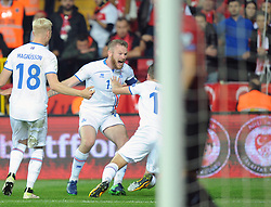October 6, 2017 - Eskisehir, Turkey - ARON GUNNARSSON of Icelend celebrate their goal during FIFA World Cup European Qualifying match between Turkey vs. Iceland at Eskisehir. Iceland defeated Turkey 3-0. (Credit Image: © Hikmet Saatci/Depo Photos via ZUMA Wire)
