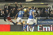 Mikael Mandron (19) of Eastleigh celebrates scoring a goal to give a 1-0 lead to the home team during the The FA Cup match between Eastleigh and Swindon Town at Arena Stadium, Eastleigh, United Kingdom on 4 November 2016. Photo by Graham Hunt.