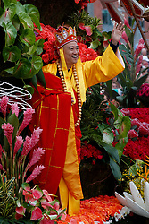 A man waves from a float on the route of the 2017 Tournament of Roses Parade, Rose Parade, Pasadena, California, United States of America