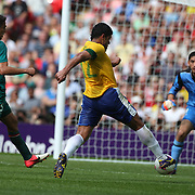Hulk, Brazil, scores during the Brazil V Mexico Gold Medal Men's Football match at Wembley Stadium during the London 2012 Olympic games. London, UK. 11th August 2012. Photo Tim Clayton