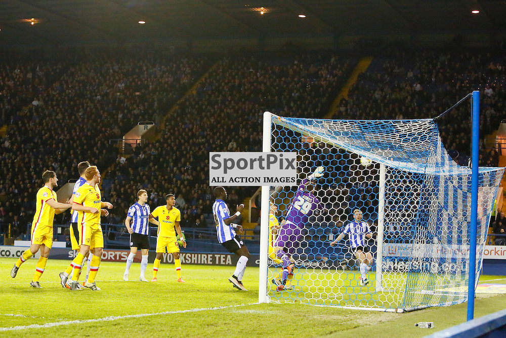 Wednesday hit the woodwork again this time Barry Bannans free kick hits the bar during Sheffield Wednesday v Milton Keynes Dons, SkyBet Championship, Tuesday 19th April 2016, Hilsborough, Sheffield