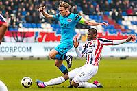 TILBURG - 19-02-2017, Willem II - AZ, Koning Willem II Stadion, AZ speler Ben Rienstra, Willem II speler Obbi Oulare