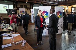© Licensed to London News Pictures. 31/05/2017. Cambridge, UK. Secretary of State for Culture, Media and Sport KAREN BRADLEY (centre) is interviewed in the spin room ahead of the BBC General Election Debate. Photo credit: Rob Pinney/LNP