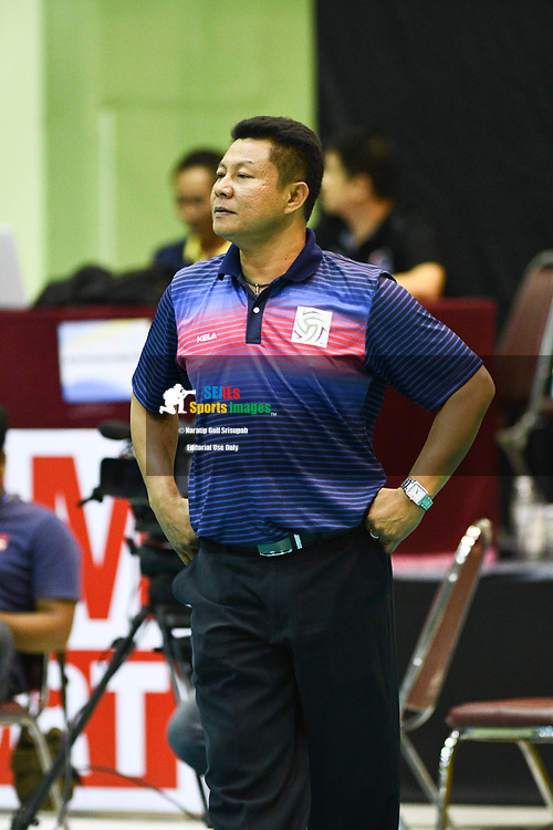 BANGKOK, THAILAND - MARCH 24: As King-Bangkok Head Coach Rakpong Janjaroen keeps on motivating his team during the 2017 Women's Volleyball Thai-Denmark Super League, MCC Hall The Mall , Bangkok, Thailand on March 24, 2017.<br /> .<br /> .<br /> .<br /> (Photo by: Naratip Golf Srisupab/SEALs Sports Images)<br /> .<br /> Any image use must include a mandatory credit line adjacent to the content which should read: Naratip Golf Srisupab/SEALs Sports Images