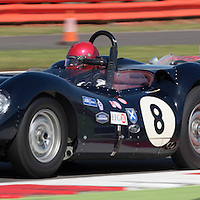 #8, Lister Knobbly (1959), Tony Wood (GB) and Will Nuthall (GB), Silverstone Classic 2015, Stirling Moss Trophy for Pre '61 Sports Cars followed by #25, Lotus 15 (1959), Ivan Vercoutere (CH), Silverstone Classic 2015, Stirling Moss Trophy for Pre '61 Sports Cars. 25.07.2015. Silverstone, England, U.K.  Silverstone Classic 2015.