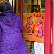 Year of the Rat Chinese new year poster on shop door, Chinatown, International District, Seattle, Washington