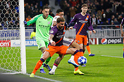 Kyle Walker of Manchester City and Depay Memphis of Lyon and Ederson of Manchester City during the UEFA Champions league, Group F football match between Olympique Lyonnais and Manchester City on November 27, 2018 at Groupama stadium in Decines-Charpieu near Lyon, France - Photo Romain Biard / Isports / ProSportsImages / DPPI