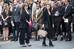 © Licensed to London News Pictures . 30/06/2017 . Stockport , UK . Kym Marsh and Faye Brookes leave the Town Hall after the service . The funeral of Martyn Hett at Stockport Town Hall . Martyn Hett was 29 years old when he was one of 22 people killed on 22 May 2017 in a murderous terrorist bombing committed by Salman Abedi, after an Ariana Grande concert at the Manchester Arena . Photo credit : Joel Goodman/LNP