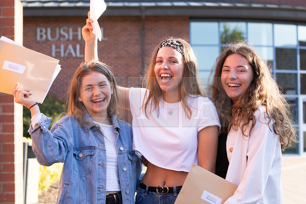 © Licensed to London News Pictures. 15/08/2019. Solihull, West Midlands UK. Solihull School A level results. Pictured from left, Cayla, Sofia, Katie. Photo credit: Dave Warren/LNP