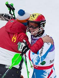 17.02.2013, Planai, Schladming, AUT, FIS Weltmeisterschaften Ski Alpin, Slalom, Herren, 2. Durchgang, im Bild Vater Ferdinand Hirscher gratuliert seinem Sohn Marcel (AUT, 1. Platz) // father Ferdinand Hirscher  congratulates his son for winning the  world champion     un of the mens Slalom at the FIS Ski World Championships 2013 at the Planai Course, Schladming, Austria on 2013/02/17. EXPA Pictures © 2013, PhotoCredit: EXPA/ Johann Groder