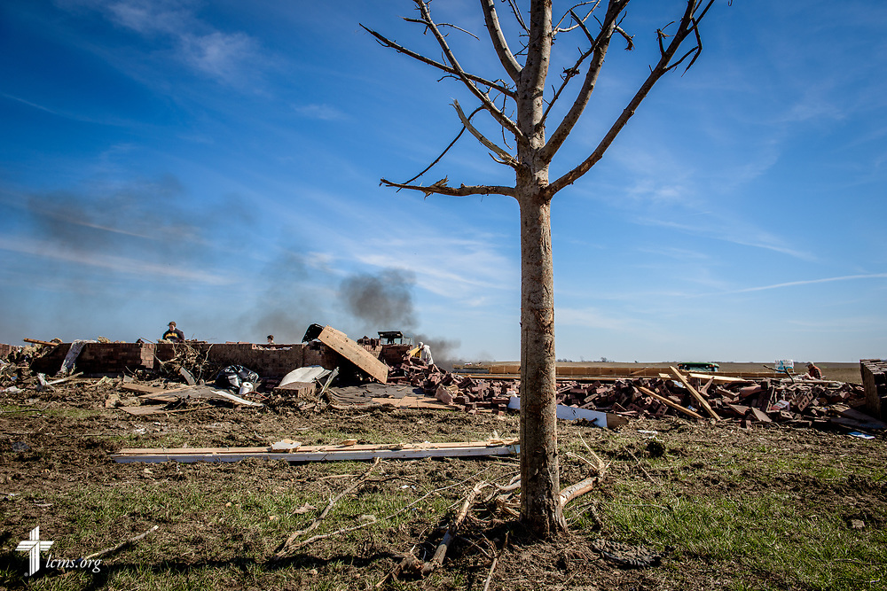 A church member's destroyed by a tornado is seen Saturday, March 4, 2017, in Perryville, Mo. LCMS Communications/Erik M. Lunsford