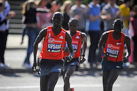 Wilson Kipsange breaks away <br /> The Virgin Money London Marathon 2014<br /> 13 April 2014<br /> Photo: Javier Garcia/Virgin Money London Marathon<br /> media@london-marathon.co.uk