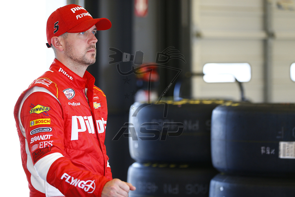 September 22, 2017 - Sparta, Kentucky, USA: Michael Annett (5) hangs out in the garage during practice for the VisitMyrtleBeach.com 300 at Kentucky Speedway in Sparta, Kentucky.