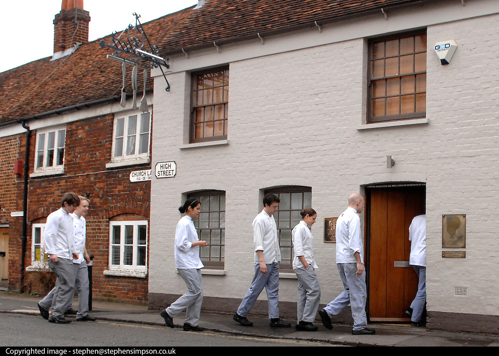 © Licensed to London News Pictures. 20/11/2012. London, FILE PICTURE DATED 12/03/09. Chefs enter Celebrity Chef Heston Blumenthal's Fat Duck Restaurant in Bray, Berkshire. Today 20/11/201 two chefs from the restaurant have been killed in a traffic accident in Hong Kong. Photo credit : Stephen Simpson/LNP