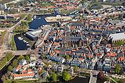 Nederland, Overijssel, Zwolle, 01-05-2013; binnenstad met water van Stadsgracht en Maagjesbolwerk, toren de Peperbus met Basiliek van Onze Lieve Vrouw ten Hemelopneming). <br /> Inner-city Zwolle with cracteristic tower 'Peppe tin'<br /> luchtfoto (toeslag op standaardtarieven);<br /> aerial photo (additional fee required);<br /> copyright foto/photo Siebe Swart.