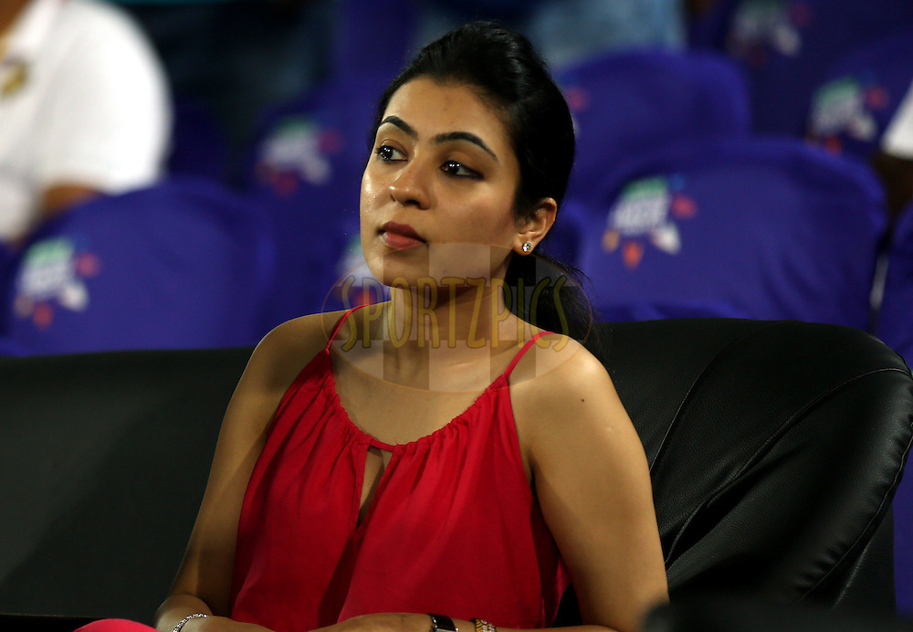 Natasha wife of Gautam Gambhir captain of Kolkata Knight Riders during match 7 of the Oppo Champions League Twenty20 between the Kolkata Knight Riders and the Lahore Lions held at the Rajiv Gandhi Cricket Stadium, Hyderabad, India on the 21st September 2014<br /> <br /> Photo by:  Sandeep Shetty / Sportzpics/ CLT20<br /> <br /> <br /> Image use is subject to the terms and conditions as laid out by the BCCI/ CLT20.  The terms and conditions can be downloaded here:<br /> <br /> http://sportzpics.photoshelter.com/gallery/CLT20-Image-Terms-and-Conditions-2014/G0000IfNJn535VPU/C0000QhhKadWcjYs