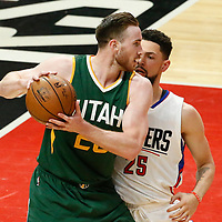 25 April 2017: LA Clippers guard Austin Rivers (25) defends on Utah Jazz forward Gordon Hayward (20) during the Utah Jazz 96-92 victory over the Los Angeles Clippers, during game 5 of the first round of the Western Conference playoffs, at the Staples Center, Los Angeles, California, USA.