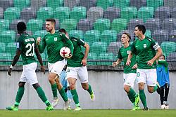 Players of Olimpija celebrate during football match between NK Olimpija Ljubljana and ND Gorica in Round #11 of Prva liga Telekom Slovenije 2017/18, on October 1, 2017 in SRC Stozice, Ljubljana, Slovenia. Photo by Matic Klansek Velej / Sportida