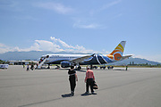 Passengers boarding a Trade Air Airbus A320-200 at Batumi international airport