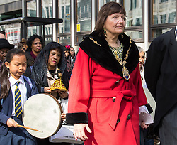 Westminster, London, March 25th 2016. Westminster's annual interdenominational Easter procession takes place with a procession from Methodist Central Hall to Westminster Cathedral and then on to Westminster Abbey, with the cross borne by people from The Passage, a homeless charity. PICTURED: The Lord Mayor of Westminster Councillor The Lady Flight. <br /> ©Paul Davey<br /> FOR LICENCING CONTACT: Paul Davey +44 (0) 7966 016 296 paul@pauldaveycreative.co.uk