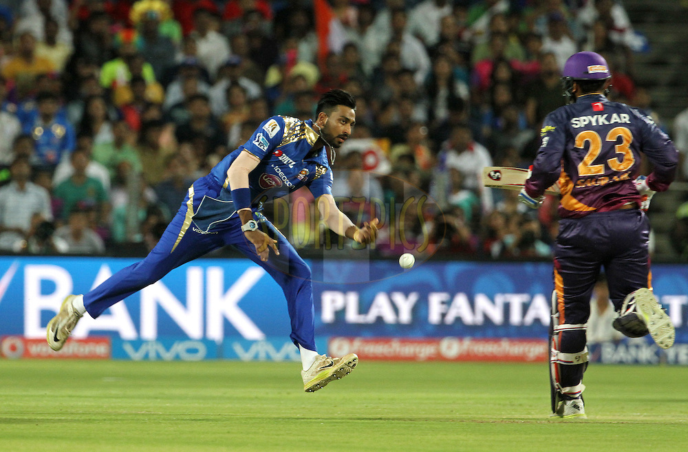 Mumbai Indians player Krunal Pandya throws the ball during match 29 of the Vivo IPL 2016 ( Indian Premier League ) between the Rising Pune Supergiants and the Mumbai Indians held at the Maharashtra Cricket Association's International Stadium, Pune, India on the 1st May 2016<br /> <br /> Photo by Vipin Pawar / IPL/ SPORTZPICS