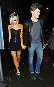 20.DECEMBER.2010 LONDON<br /> <br /> PIXIE LOTT AND BOYFRIEND OLIVER CHESHIRE ARRIVING AT BOUJIS NIGHT CLUB IN SOUTH KENSINGTON WITH PIXIE'S FACE AND BODY PAINTED AS A TIGER.<br /> <br /> BYLINE: EDBIMAGEARCHIVE.COM<br /> <br /> *THIS IMAGE IS STRICTLY FOR UK NEWSPAPERS AND MAGAZINES ONLY*<br /> *FOR WORLD WIDE SALES AND WEB USE PLEASE CONTACT EDBIMAGEARCHIVE - 0208 954 5968*