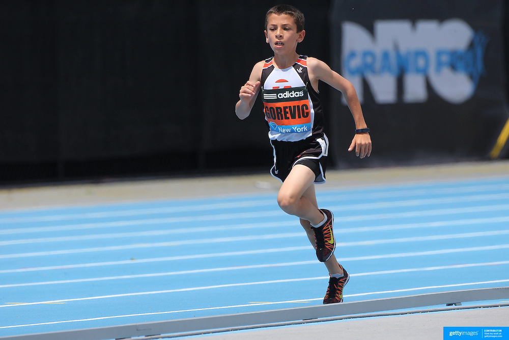Jonah Gorevic, USA, winning the Youth Boy's Mile in a time of 5:01.55 during the Diamond League Adidas Grand Prix at Icahn Stadium, Randall's Island, Manhattan, New York, USA. 14th June 2014. Photo Tim Clayton