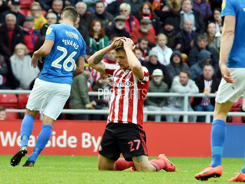 Max Power rues a missed chance for goal during the EFL Sky Bet League 1 match between Sunderland and Portsmouth at the Stadium Of Light, Sunderland, England on 27 April 2019.