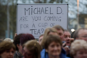 Sign in crowd at the celebration for President Elect Michael D Higgins arriving back to Hotel Meyrick in Galway to a huge welcome. Photo:Andrew Downes