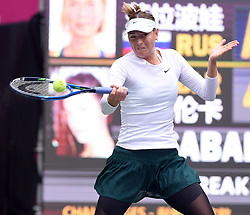 TIANJIN, Oct. 15, 2017  Maria Sharapova of Russia hits a return during the women's singles final match against Aryna Sabalenka of Belarus at the 2017 WTA Tianjin Open tennis tournament in north China's Tianjin Municipality, Oct. 15, 2017. Maria Sharapova won 2-0 to claim the title. (Credit Image: © Yue Yuewei/Xinhua via ZUMA Wire)