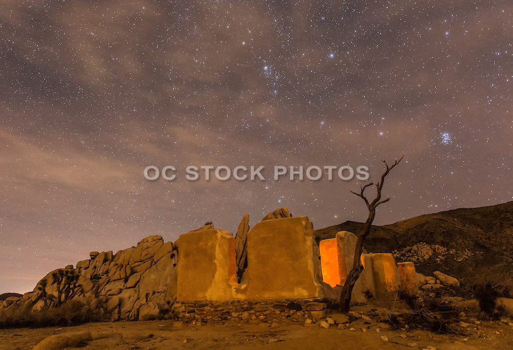 Joshua Tree Ryan Ranch Ruins at Night