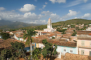 An aerial view of the terracotta roofs of Trinidad and the belltower of<br /> Iglesia y Convento de San Francisco<br /> Cuba