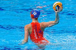 Brigitte Sleeking #12 of Netherlands during the semi final Netherlands vs Russia on LEN European Aquatics Waterpolo January 23, 2020 in Duna Arena in Budapest, Hungary
