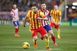 11.01.2014, Estadio Vicente Calderon, Madrid, ESP, Primera Division, Atletico Madrid vs FC Barcelona, 19. Runde, im Bild Barcelona´s Jordi Alba // Barcelona´s Jordi Alba during the Spanish Primera Division 19th round match between Club Atletico de Madrid and Barcelona FC at the Estadio Vicente Calderon in Madrid, Spain on 2014/01/11. EXPA Pictures © 2014, PhotoCredit: EXPA/ Alterphotos/ Victor Blanco<br /> <br /> *****ATTENTION - OUT of ESP, SUI*****