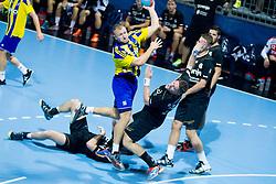 Ziga Mlakar #55 of RK Celje Pivovarna Lasko during handball match between RK Celje Pivovarna Lasko vs RK Gorenje Velenje of Super Cup 2015, on August 29, 2015 in SRC Marina, Portoroz / Portorose, Slovenia. Photo by Urban Urbanc / Sportida