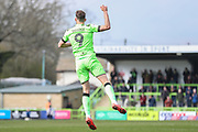Forest Green Rovers Christian Doidge(9) scores a goal 1-0 and celebrates during the EFL Sky Bet League 2 match between Forest Green Rovers and Macclesfield Town at the New Lawn, Forest Green, United Kingdom on 13 April 2019.