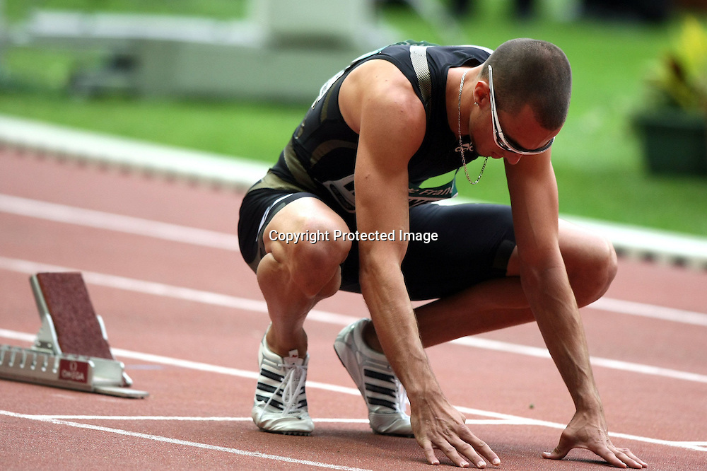 Jeremy Wariner (usa) - 400 m 400m - Meeting Gaz de France -Paris Saint Denis - 18.07.2008 - Golden League - Athletisme Athle - Homme Hommes Messieurs Masculin - largeur attitude au depart concentrer concentration