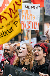 © Licensed to London News Pictures. 04/10/2018. London, UK. Fast food workers at a rally in Leicester Square as part of strike action over pay. UberEats, JD Wetherspoon, McDonald's and TGI Fridays workers are among those taking part. Photo credit: Rob Pinney/LNP