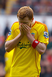 Birmingham, England - Sunday, March 3, 2007: Liverpool's John Arne Riise feels the cold as he prepares for the start of the second half against Aston Villa during the Premiership match at Villa Park. (Pic by David Rawcliffe/Propaganda)