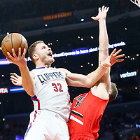 12 December 2016: LA Clippers forward Blake Griffin (32) goes to the basket against Portland Trail Blazers forward Meyers Leonard (11) during the LA Clippers 121-120 victory over the Portland Trail Blazers, at the Staples Center, Los Angeles, California, USA.