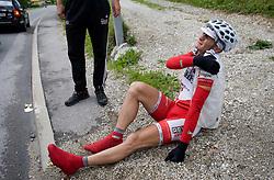 Simon Novak (SLO) of Motomat Delo Revije injured at 3rd stage of Tour de Slovenie 2009 from Lenart to Krvavec, 175 km, on June 20 2009, Slovenia. (Photo by Vid Ponikvar / Sportida)