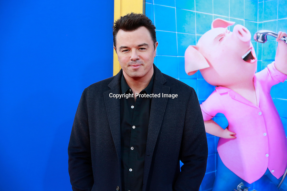 "Actor Seth MacFarlane attends the premiere of Universal Pictures ""Sing"" at Microsoft Theater at L.A. Live, Los Angeles, on December 3, 2016"