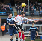 Forfar's Eddie Malone and Clyde's Matthew Flynn battle in the air during Forfar's 3-0 win over Clyde in SPFL League Two  at Station Park, Forfar, Photo: David Young<br /> <br />  - &copy; David Young - www.davidyoungphoto.co.uk - email: davidyoungphoto@gmail.com